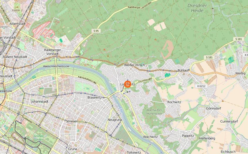 Loschwitz zählt zum gleichnamigen Amtsbereich und befindet sich nördlich der Elbe.