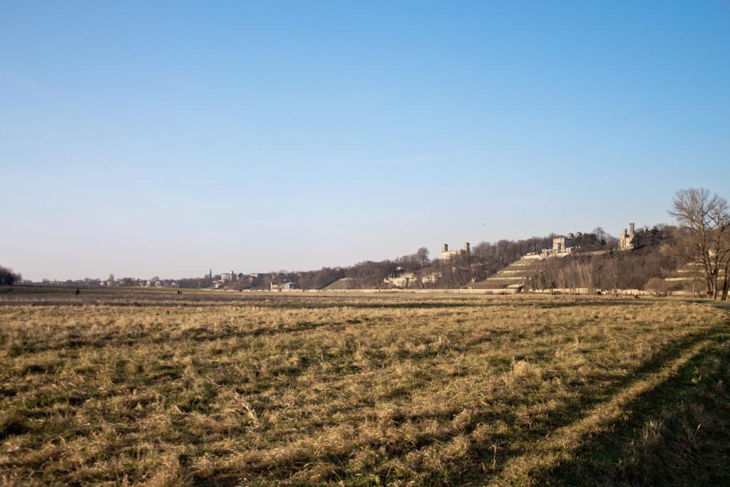 Blick von den Elbwiesen auf die Dresdner Elbschlösser.