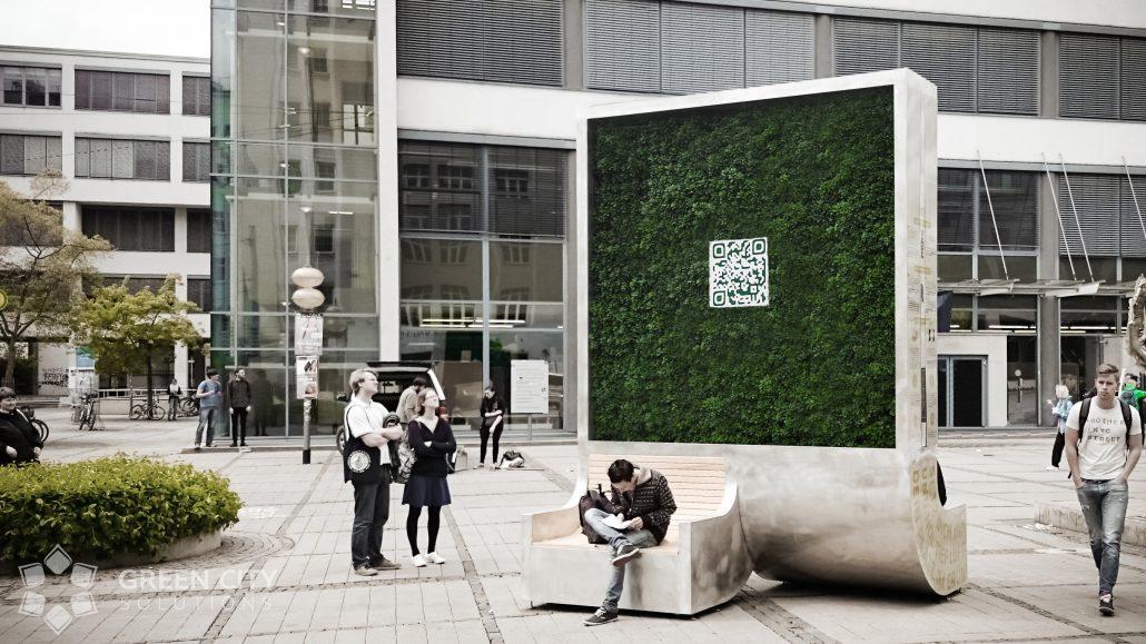 Ein City Tree in Jena. In Dresden stehen aktuell drei Exemplare: in Rossendorf sowie auf dem Campus der TU und der HTW. © GCS