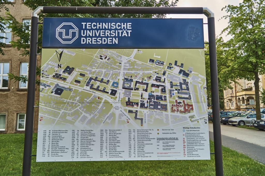 Der Gebäudekomplex der TU ist einer der größten Deutschlands! Damit auch der Campus.