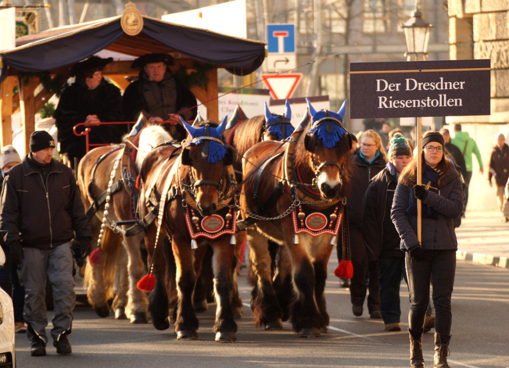 Der Dresdner Riesenstollen, gezogen von einem Vierspänner.