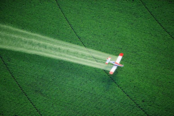 Sprühflugzeug über einem Feld istock foto / Brian Brown (Pressebild DHMD)