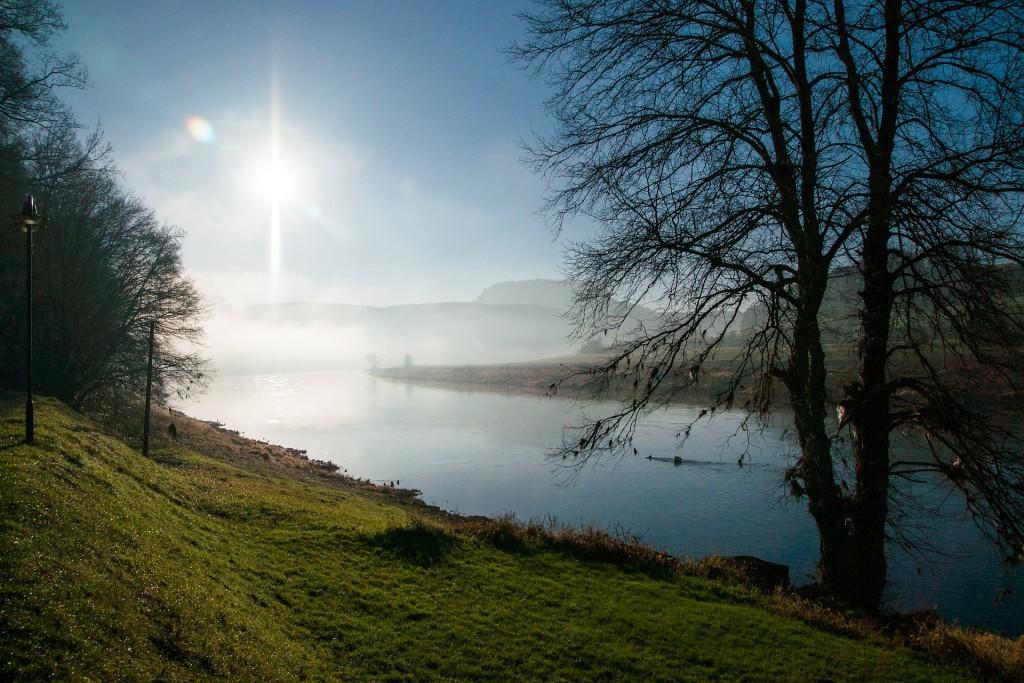 Ein besonders atemberaubender Anblick ergibt sich morgens, wenn der Nebel die Ufer der Elbe überzieht und die Sonne langsam durch die Wolken bricht.