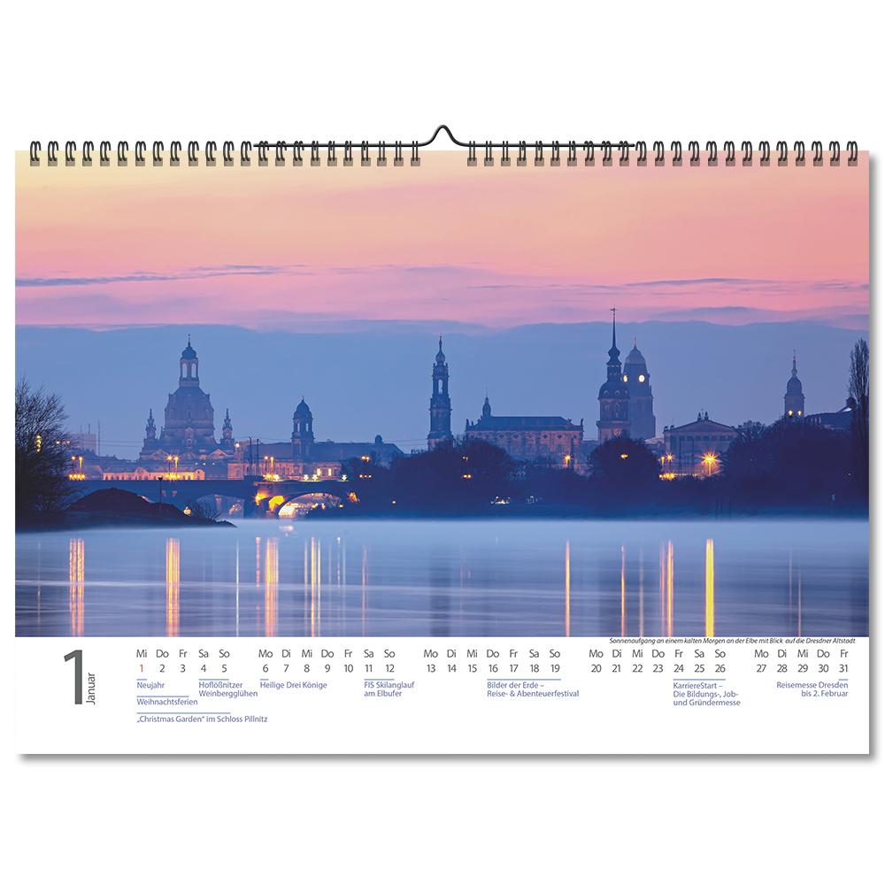 Kalendermonat Januar des Dresden-Kalenders.